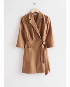 Linen Mini Wrap Dress Brown