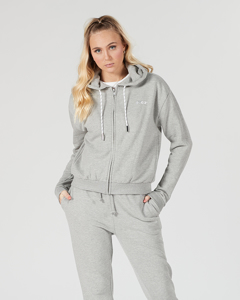 Svea Small Logo Zip Hood Grey Melange