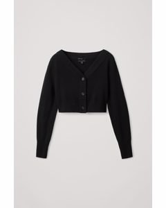 Cropped Cashmere Cardigan Black