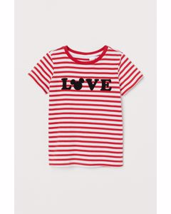 Randig T-shirt Röd/musse Pigg