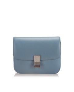 Celine Medium Classic Box Leather Shoulder Bag Blue
