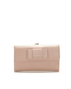 Miu Miu Leather Long Wallet Pink