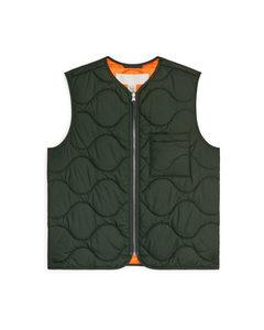 Quilted Liner Vest Green