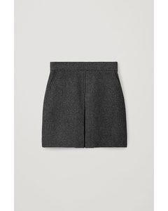 Pleated A-line Wool-cashmere Mini Skirt Black