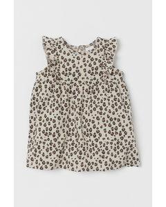 Volangklänning I Trikå Ljusbeige/leopardmönstrad