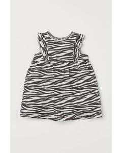 Volangklänning I Trikå Svart/zebramönstrad
