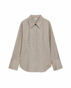 Tailored Wool Blend Overshirt Beige