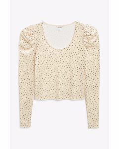 Puff Shoulder Top Cream With Black Dots