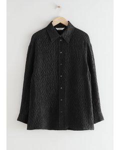 Voluminous Crinkled Silk Blend Shirt Black