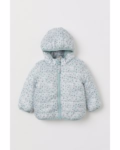 Hooded Puffer Jacket Mint Green/floral