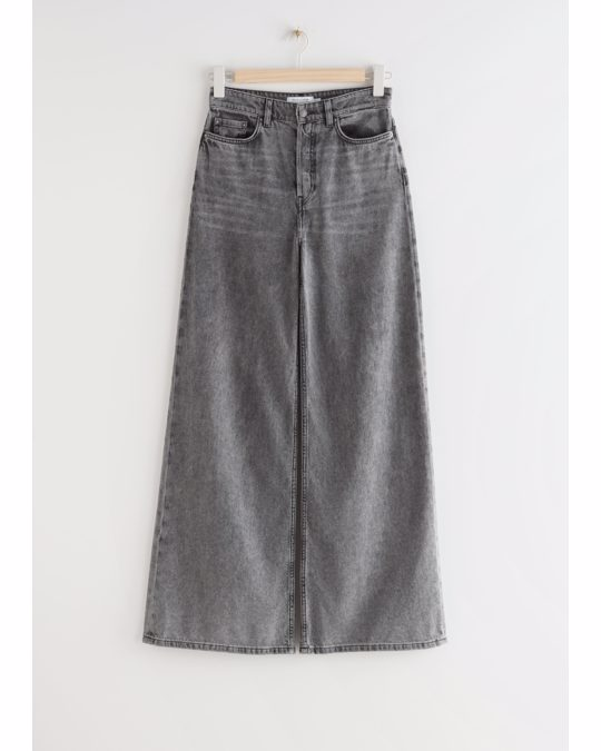 & Other Stories Wide High Waist Jeans Grau