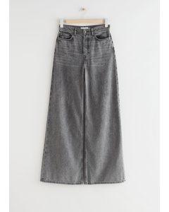 Wide High Waist Jeans Grau