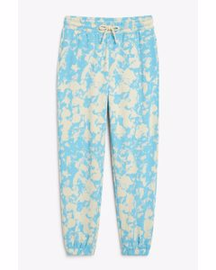 Cotton Sweatpants Blue And Grey Marble