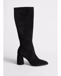 Pointed Knee High Suede Boots Black