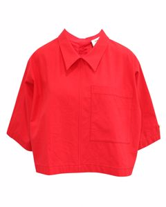 Red Oversized Shirt With Buttons At The Back