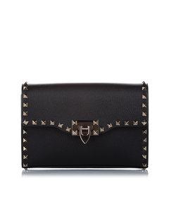 Valentino Rockstud Leather Crossbody Bag Black