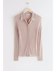 Fitted Ribbed Knit Cardigan Beige