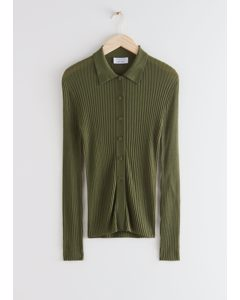 Fitted Ribbed Knit Cardigan Green