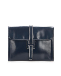 Hermes Jige Gm Leather Clutch Bag Blue