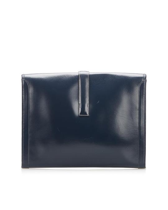 Hermès Hermes Jige Gm Leather Clutch Bag Blue