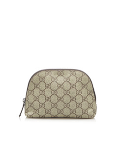 Gucci Gg Supreme Pouch Brown