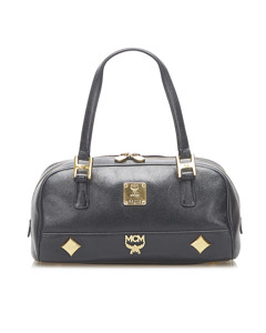 Mcm Studded Leather Handbag Black