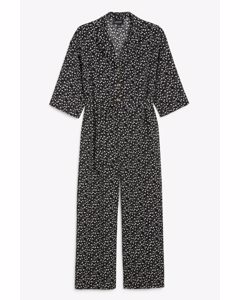 Short-sleeve Jumpsuit Black And White Floral