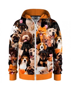 Mr. Gugu & Miss Go Puppy Crowd Kids Zip Hoodie Animal Orange
