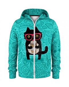 Mr. Gugu & Miss Go Coffee Cat Kids Zip Hoodie Happy Teal