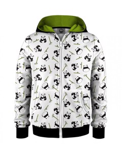 Mr. Gugu & Miss Go Rolling Pandas Kids Zip Hoodie Animal White