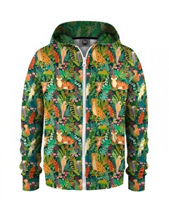 Mr. Gugu & Miss Go In The Jungle Kids Zip Hoodie Dark Green