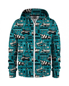Mr. Gugu & Miss Go Trucks Green Pattern Kids Zip Hoodie Urban Teal