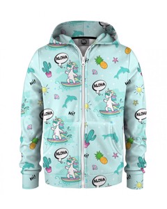 Mr. Gugu & Miss Go Surfing Unicorn Kids Zip Hoodie Aloha Blue