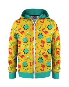 Mr. Gugu & Miss Go Dino Kids Zip Hoodie Animal Yellow