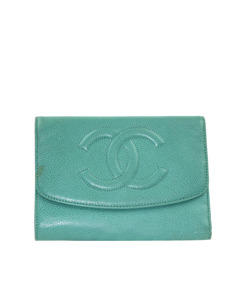 Chanel Cc Caviar Leather Wallet Blue