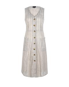 Damen Kleid Leinenoptik Streifen