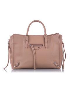 Balenciaga Papier A6 Leather Zip-around Satchel Pink