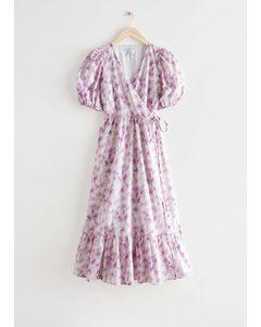 Puff Sleeve Midi Wrap Dress Blurry Florals