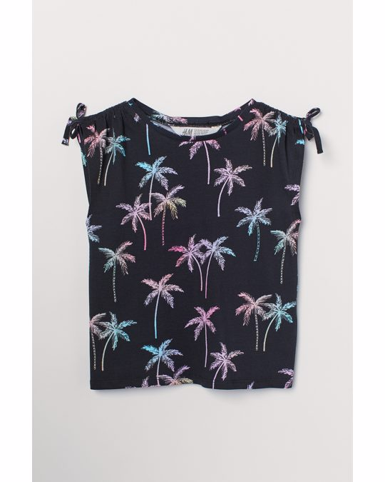 H&M Printed Top Black/palm Trees