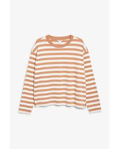 Soft Long-sleeve Top White And Orange Stripe