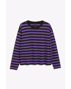 Soft Long-sleeve Top Purple And Black Stripes