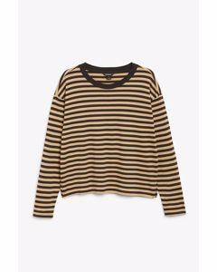 Soft Long-sleeve Top Black And Beige Stripes