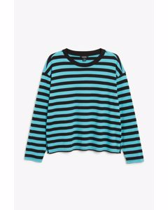 Soft Long-sleeve Top Blue And Black Stripes