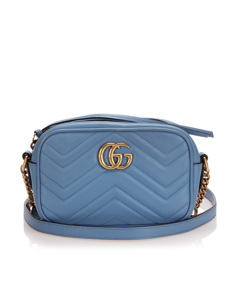 Gucci Mini Gg Marmont Leather Crossbody Bag Blue