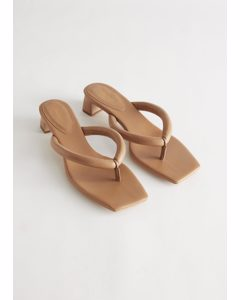 Thong Strap Heeled Leather Sandals Beige