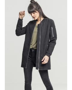 Damen Ladies Peached Long Bomber Jacket