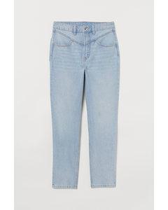 Mom High Ankle Jeans Hellblau