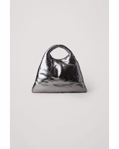 Leather Padded Mini Shopper Bag Silver