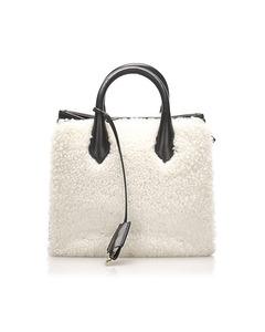 Balenciaga Shearling Padlock Nude Work Xs Satchel White