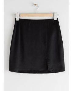 Front Slit Mini Skirt Black